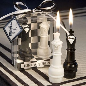 King & Queen Chess Piece Candle Favor