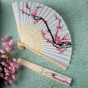 Delicate Cherry Blossom Design Silk Folding Favor Fan