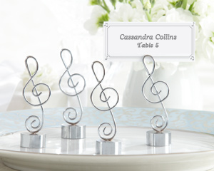 """Love Songs"" Silver-Finish Music Note Place Card Holders"