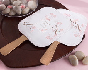 """Cherry Blossoms"" Fan with Bamboo Handle"