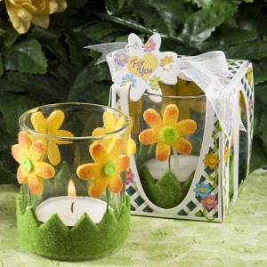 Cheery Floral Design Candle Holder Favors
