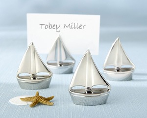 """Shining Sails"" Silver Place Card Holders"