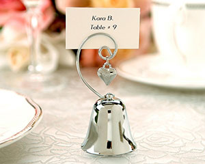 Charming Chrome Bell Place Card/Photo Holder with Dangling Heart Charm