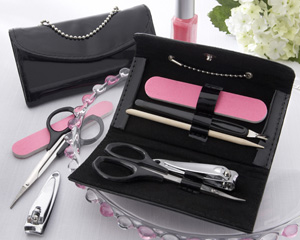 &quot;Little Black Purse&quot; Patent-Leather Five-Piece Manicure Set