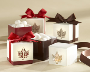 &quot;Autumn Elegance&quot; Laser-Cut Fall Leaf Favor Box