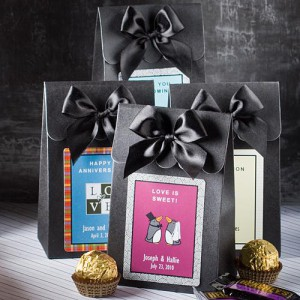 "Black ""Delivered With Love"" Boxes From The Personalized Expressions Collection"