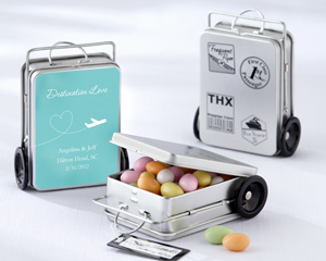 """Miles of Memories"" Suitcase Favor Tins with Optional Personalized Labels"
