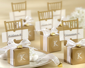Miniature Gold Chair Favor Box with Heart Charm and Ribbon (Can be Monogrammed)