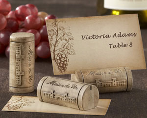 &quot;Maison du Vin&quot; Wine Cork Place Card/Photo Holder with Grape-Themed Place Cards