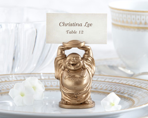 """Laughing Buddha"" Golden Buddha Place Card/Photo Holder"