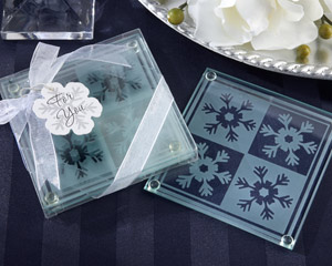 """Snow Crystals"" Glass Coasters"
