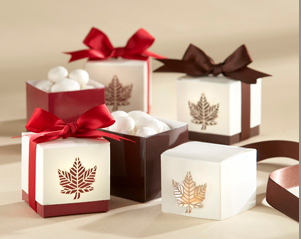 """Autumn Elegance"" Laser-Cut Fall Leaf Favor Box"