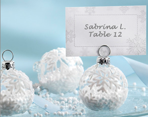 """Snow Flurry"" Flocked Glass Ornament Place Card/Photo Holder"