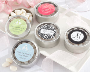 """Simply Sweet"" Round, Personalized Candy Tin - Wedding"