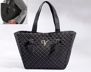 """Knotted Couture"" Monogrammed Quilted Tote Bag"