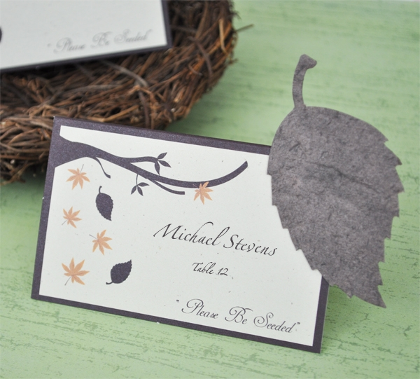"""Please Be Seeded"" Leaf Plantable Seed Place Cards"