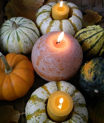 Pumpkin and Gourd Candle Holder Centerpieces