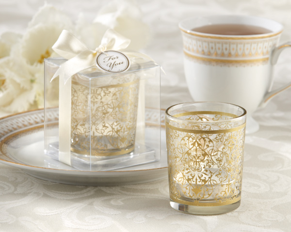 &quot;Golden Renaissance&quot; Glass Tealight Holder (Set of 4)