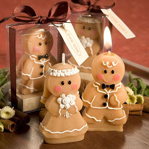 Adorable Gingerbread Bride & Groom Candle Favors