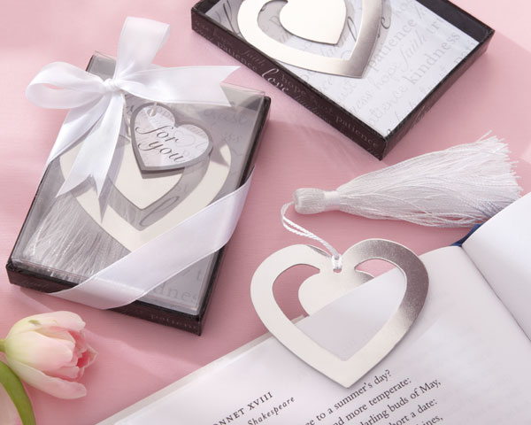 &quot;Love Story&quot; Silver-Finish Heart-Shaped Bookmark with Elegant Silk Tassel