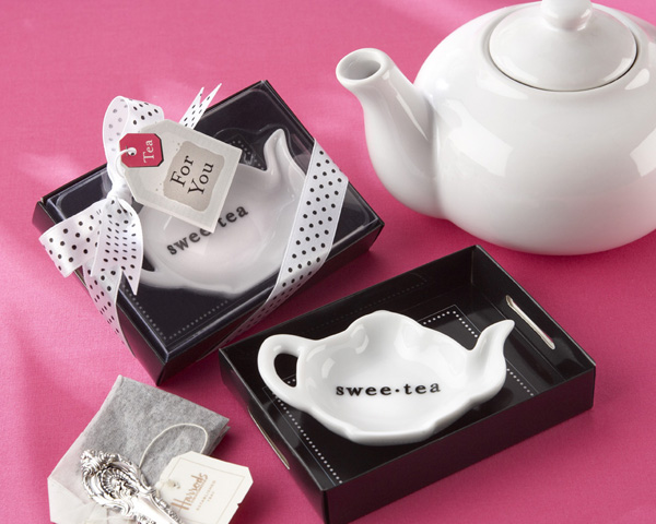 &quot;Swee-Tea&quot; Ceramic Tea-Bag Caddy in Black &amp; White Serving-Tray Gift Box