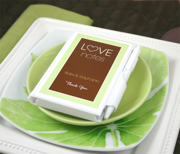 "Personalized ""Love Notes"" White Notebook Favors"