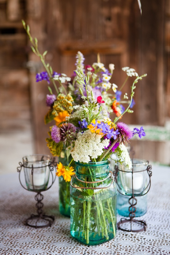 Wildflowers in Mason Jar