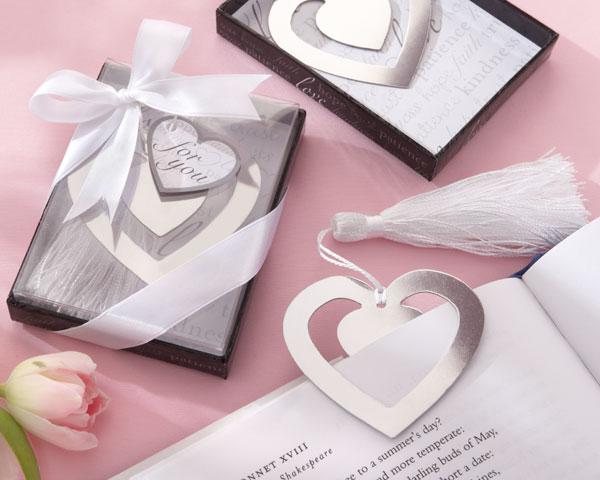 """Love Story"" Silver-Finish Heart-Shaped Bookmark with Elegant Silk Tassel"