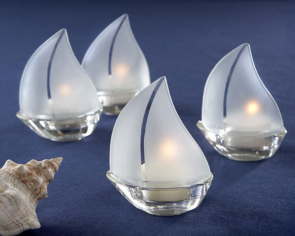 &quot;Set Sail&quot; Frosted Glass Sailboat Tealight Holders