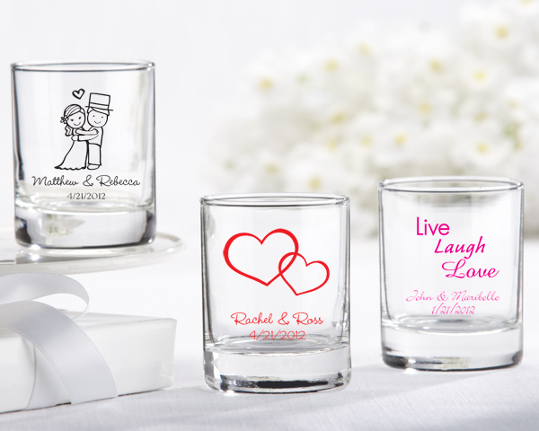 Personalized Shot Glass/ Votive Holder with over 40 Design Choices