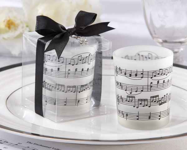 &quot;Music of the Heart&quot; Frosted-Glass Tealight Holder (Set of 4)