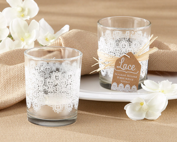 &quot;Lace&quot; Glass Tealight Holder (Set of 4)
