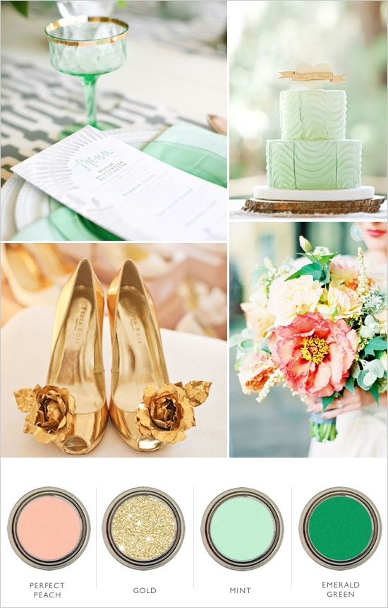 Wedding Colors - Mint, Peach, Gold, Green