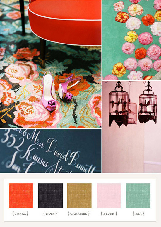 Wedding Colors - Coral, Blush, Black, Caramel, Sea