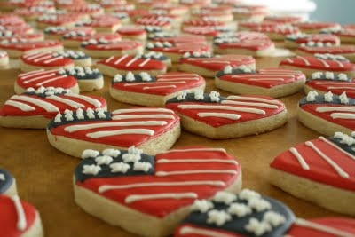 Fourth of July Heart Cookie Wedding Favors