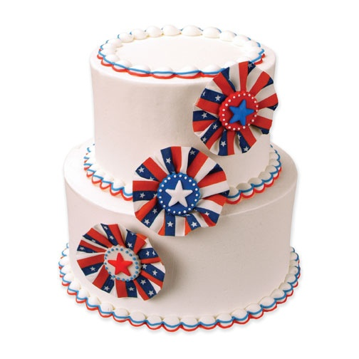 Fourth of July Red, White and Blue Wedding Cake