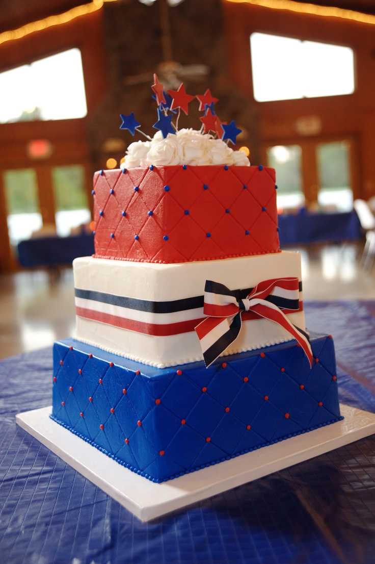 Red White and Blue Wedding Fourth of July Cake