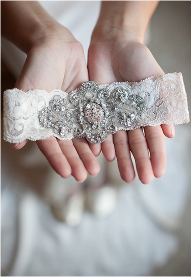 Vintage Beaded Lace Garter