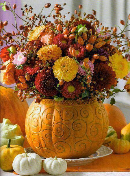 Fall Centerpiece with Pumpkins and Mums