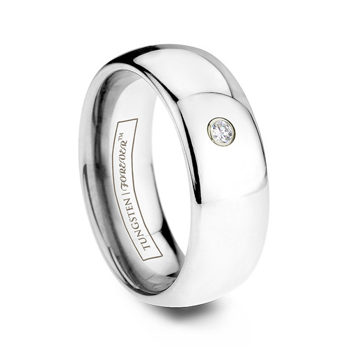 AQUARIUS Diamond and Tungsten Wedding Band