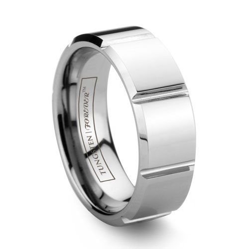 NITRITE Faceted Polished Tungsten Wedding Band