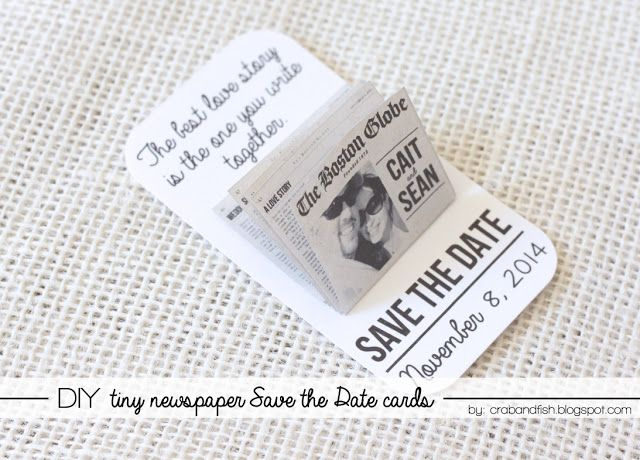 Tiny Newspaper Save the Date Card