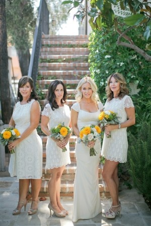 Short Bridesmaid Dresses and Yellow Flowers
