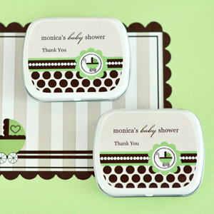 Personalized Mint Tins - Green Baby wedding favors