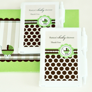 Personalized Notebook Favors - Green Baby wedding favors