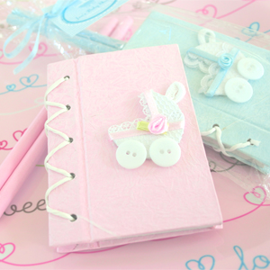 """Thanks for Strolling By!"" Baby Carriage Notebook Gift Set wedding favors"