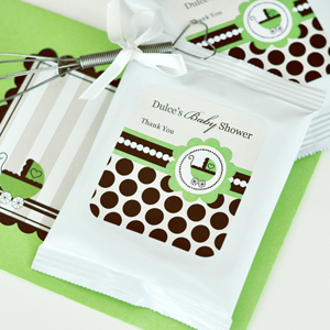 Personalized Hot Cocoa + Optional Whisk - Green Baby  wedding favors