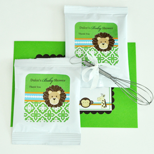 Personalized Hot Cocoa + Optional Whisk - Jungle Safari  wedding favors