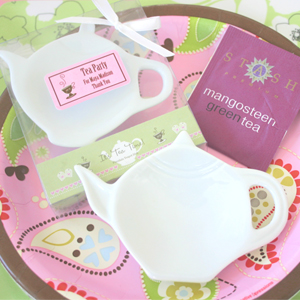 """It's Tea Time!"" Porcelain Teapot Dish wedding favors"