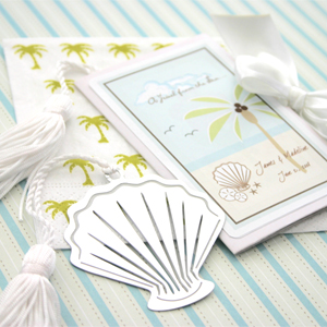 """A Jewel From the Sea"" Seashell Bookmark wedding favors"